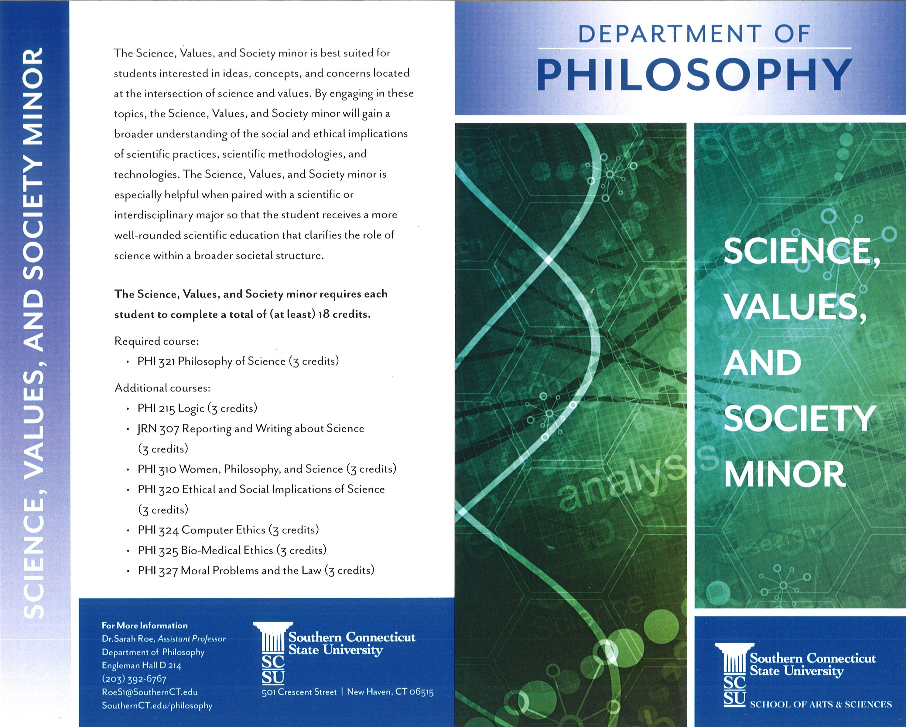 Image of Brochure for Science, Values, and Society Minor
